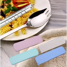 不鏽鋼2合1叉匙餐具組(贈便攜洗手香皂紙1盒)