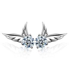 925純銀 翅膀天使 天然白水晶 耳環耳釘針-銀 防抗過敏