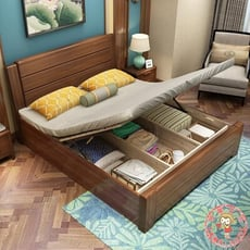 實木床1.8米1.5米現代簡約臥室家具實木雙人床橡膠木 - 1500mm*2000mm,高箱床