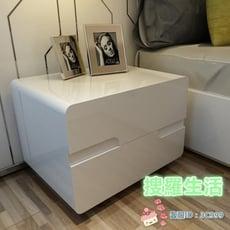 年終盛典價☆床頭櫃床頭櫃簡約現代白色歐式鋼琴烤漆臥室北歐儲物床邊櫃整裝