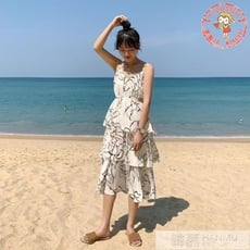 十月上新限時免運✪夏韓版寬鬆簡約細肩帶裙蛋糕裙時尚洋裝連身裙女【Freestyle】 - 均碼,吊帶