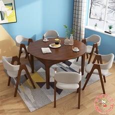 北歐實木餐桌椅組合伸縮家用方形飯桌橡膠木餐廳餐桌折疊 - 實木餐桌+6把椅子