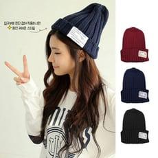 韓版秋冬針織毛帽 標籤毛帽