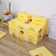 【愛家】快樂小熊-四折式沙發床/沙發椅(坐高30床長200公分)-黃色(加贈布套*1)