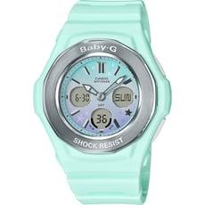 BABY-G 漸層夢幻星星圖騰數位電子錶-粉綠(BGA-100ST-3A)