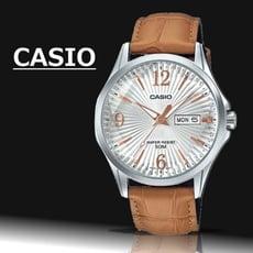 【CASIO 卡西歐】北極星簡約時尚皮帶男錶-白(MTP-E120LY-7A)