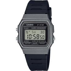 CASIO 簡約復古造型電子流行腕錶-鐵灰(F-91WM-1B)
