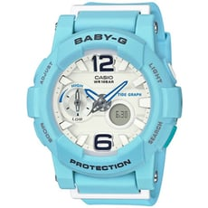 【CASIO 卡西歐】衝浪滑板極限運動雙顯女錶-藍(BGA-180BE-2B)