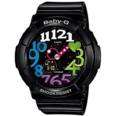 【CASIO 卡西歐】BABY-G 個性彩漾霓虹休閒雙顯手錶-黑(BGA-131-7B2)