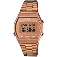 【CASIO】簡單風鋼帶款電子數位錶-咖啡金(B640WC-5A)