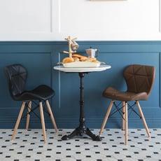 復古菱紋皮革椅/椅子/書桌椅/楓木椅/電腦椅/餐椅/椅/3色/F0074