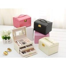 【雨絲紋珠寶首飾盒】帶鑰匙pu皮革飾品盒子三層雙抽屜珠寶首飾盒公主珠寶首飾收納箱