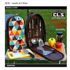 【露營炒菜七件組】出口韓國戶外炊具套裝野炊廚具便攜201不銹鋼感性手提包野餐包