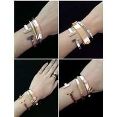 【超大心】雙T字母開口手鐲 鍍18k 玫瑰金手環 歐美時尚 明星同款 玫瑰金 可調式手環#010