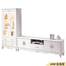 【金滿屋】80cm置物櫃 2.7尺玻璃展示櫃 客廳收納櫃 白色高腳整理櫃 法式歐風 -B335-02