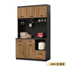 【金滿屋】121cm收納櫃 4尺餐櫃下座 大理石餐櫃 耐重木心板 廚房碗盤 電器櫃-B378-07