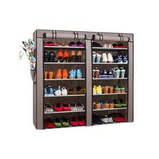 雙排鞋架 多款超大容量 DIY豪華雙門鞋架(附防塵套)