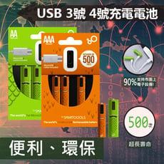 環保隨插隨充USB充電電池(1入2顆)