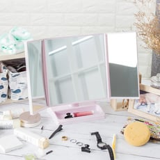 三色-經典菱格三折鏡面設計化妝鏡