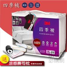 【送涼感壽司枕X1 含枕頭專利收納袋】3M四季被NZ250 標準雙人 送枕頭 記憶枕 防螨 棉被