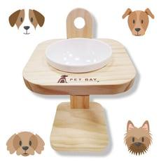 【PET BAY】可調式原木單口碗架(附陶瓷碗) A1215