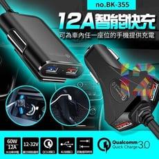 12A 車用USB充電 QC3.0 4USB 車用4孔USB充電器《前座+後座》專利設計, 12A
