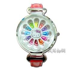 《省您錢購物網》全新~HELLO KITTY彩虹花邊秒盤合金錶-銀色(HKFR910-01B)