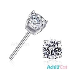 AchiCat 925純銀耳環 純銀飾 晶鑽 3mm/4mm 純銀耳針 單鑽耳環 GS3023