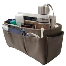 包包袋中袋 簡約時尚手工 多層分類袋方便收納 編織卡其中型【歐必買ObuyNow】