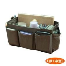 包包袋中袋 簡約時尚手工 收納包中包 織紋咖啡 (中型)【歐必買ObuyNow】