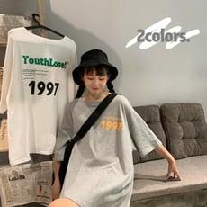 [BUNNY LIFE] 復古字1997印花寬鬆顯瘦短袖上衣T恤