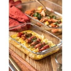 朵頤鋼化耐熱玻璃烤盤焗飯盤魚盤烤箱專用長方盤家用微波爐烘焙盤1入 -