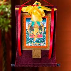 黃財神唐卡 刺繡布料裝裱西藏唐卡裝飾掛畫 黃財神唐卡佛像掛畫 -