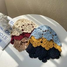 帽子女夏天薄款百搭時尚韓版潮日系手工編織頭套鏤空透氣頭巾文藝 -