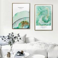 TROMSO北歐時代風尚有框畫-WA143碧綠湖潮 WA144碧綠圓滿-40x60/抽象藝術時尚掛畫