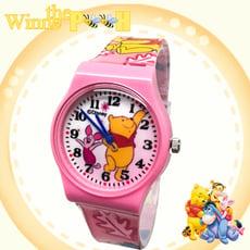 【迪士尼】快樂小豬&維尼卡通錶 (大膠W-17)