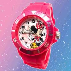 【迪士尼】復古俏麗米妮運動彩帶錶(桃紅)