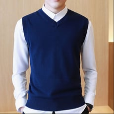 冬季加絨加厚男士無袖毛衣背心韓版修身純色百搭保暖針織衫男衣服TWXH-01671