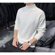 加厚半高領毛衣男士韓版個性針織衫線衣加絨打底衫寬松男裝潮流黑TWXH-01448