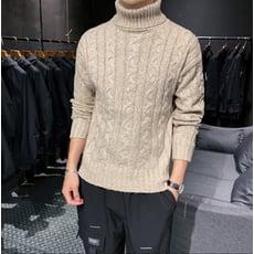 純色高領套頭男士毛衣修身潮流男學生打底毛線衣青年休閑針織衫TWXH-01419