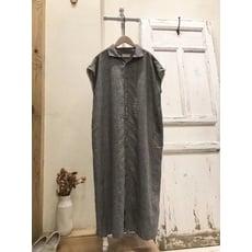 日本服飾-黑白細格長版洋裝0430T42