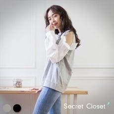 Secret Closet-拼接燈籠袖長袖上衣