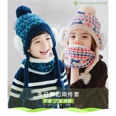 【熱銷現貨爆款推薦】韓國 KK樹兒童帽子冬天男童女童加絨保暖套頭帽 小孩帽子圍脖兩件套