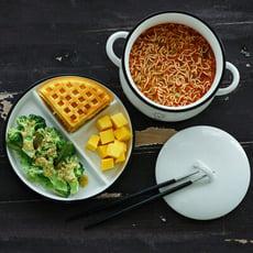 【早道迷居家】陶瓷笑臉分格盤 早午餐 一人份  沙拉盤 點心