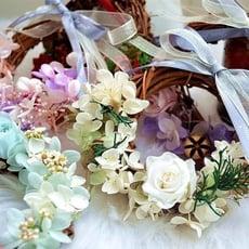 永生花DIY材料包,單面花環掛飾(10公分)附製作說明圖紙,共6款