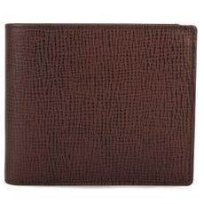 DAKS新款十字紋皮革壓扣零錢袋短夾(咖啡色)231224-08