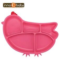 Innobaby 歡樂小雞矽膠防滑餐盤(桃紅)