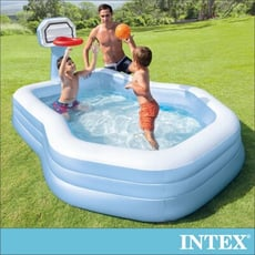 【INTEX】灌籃高手大型充氣泳池257x188x135x深34cm(790L) (57183)