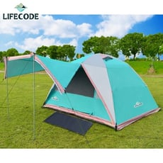 LIFECODE《立可搭》5-6人雙層全罩式防雨速搭帳篷-高183cm(水藍色)