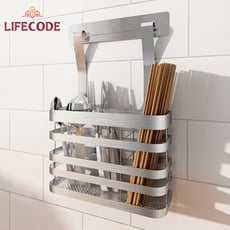 LIFECODE 《收納王》304不鏽鋼-免打孔-壁掛式-筷子籠